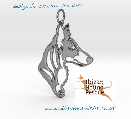 Podenco Xarnego pendant sterling silver handmade by saw piercing for Ibizan Hound Rescue